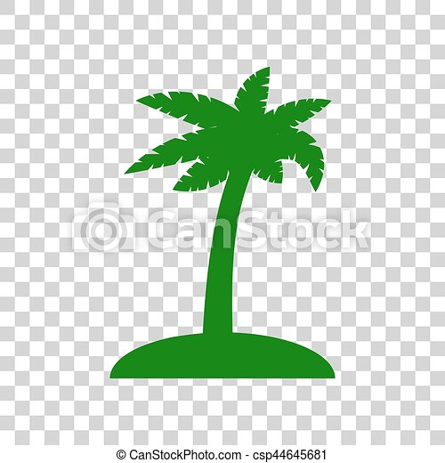 Coconut Palm Tree Sign Dark Green Icon On Transparent Background