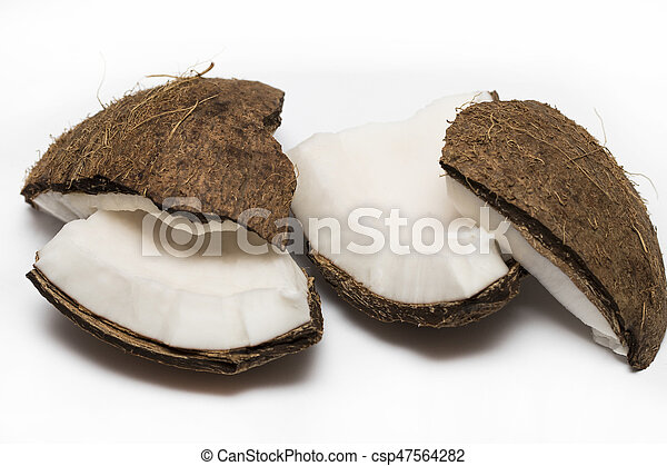 Coconut pieces isolated on a white background - csp47564282
