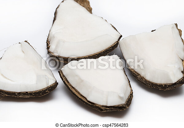 Coconut pieces isolated on a white background - csp47564283