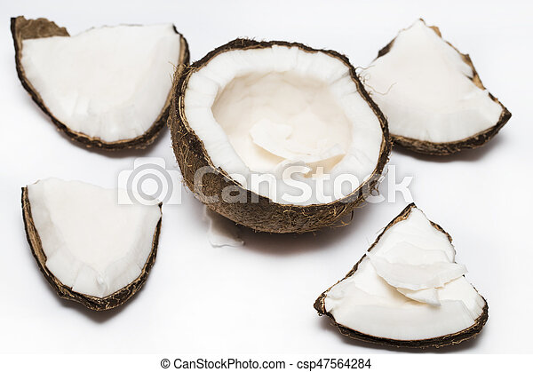 Coconut pieces isolated on a white background - csp47564284