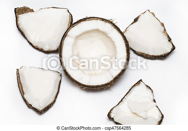Coconut pieces isolated on a white background - csp47564285