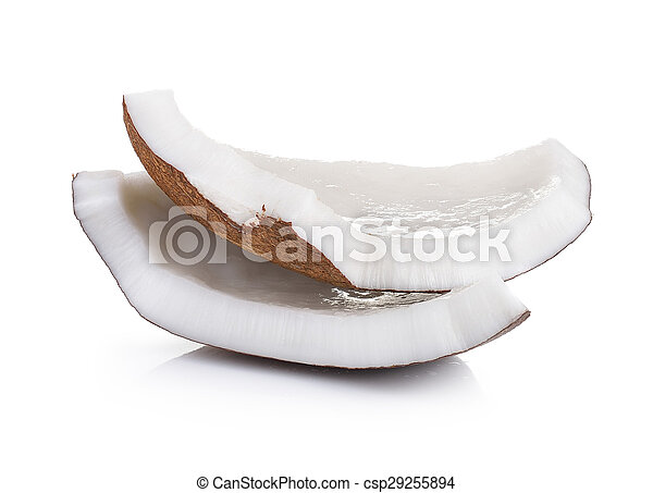 Coconut pieces isolated on a white background - csp29255894