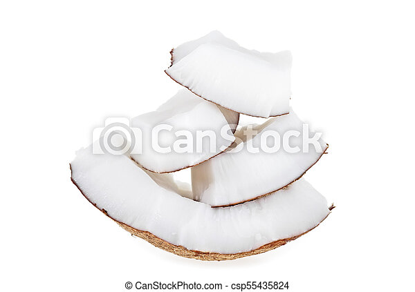 Coconut pieces isolated on white background - csp55435824