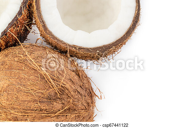 Coconut pieces top view isolated on white background - csp67441122