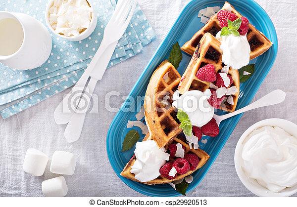 Coconut raspberry waffles - csp29920513
