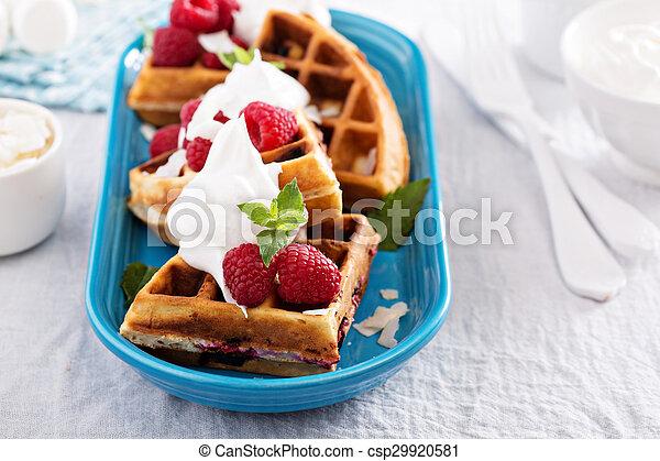 Coconut raspberry waffles - csp29920581