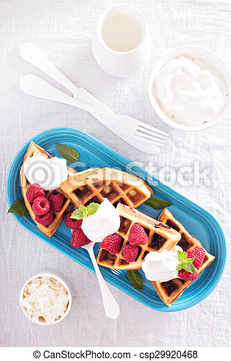 Coconut raspberry waffles - csp29920468