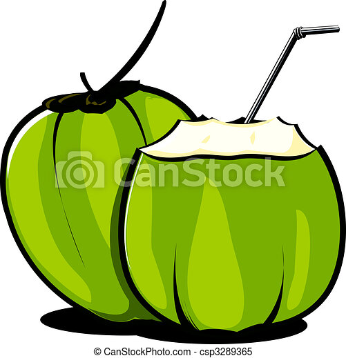 Coconut Illustration Of Tender Coconuts And Straw