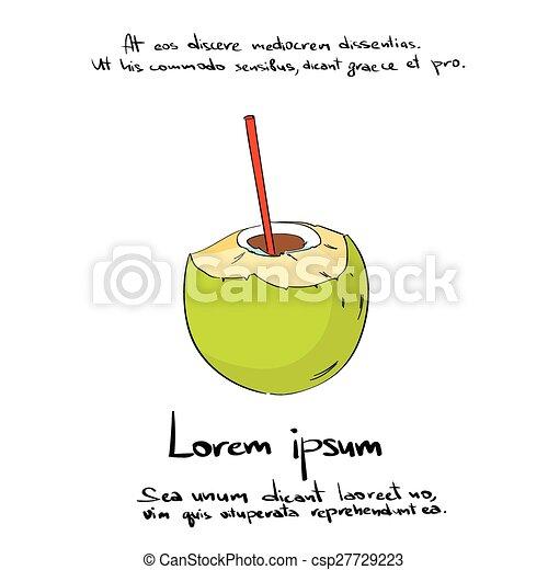 Coconut Straw Drink Cut Hand Draw Logo