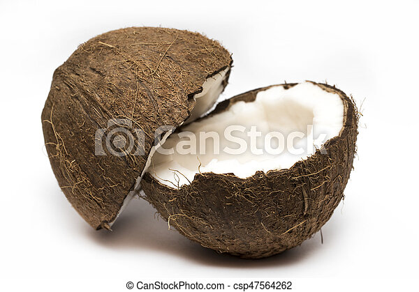 Coconut with a half on white background, closeup - csp47564262