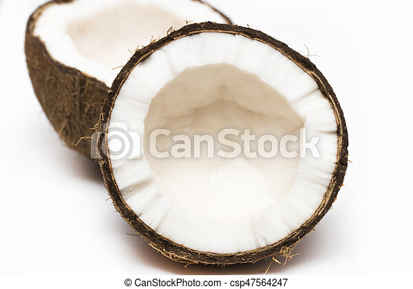 Coconut with a half on white background, closeup - csp47564247