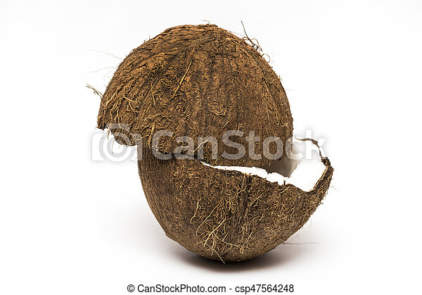 Coconut with a half on white background, closeup - csp47564248