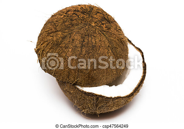 Coconut with a half on white background, closeup - csp47564249