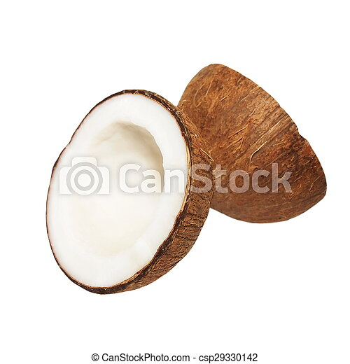 Coconut with half isolated on white - csp29330142