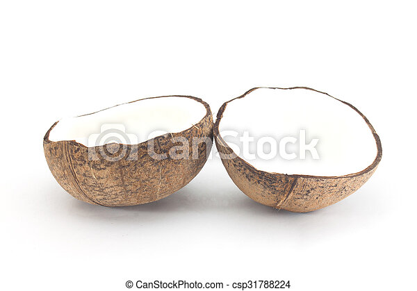 Coconut with half isolated on white Background - csp31788224