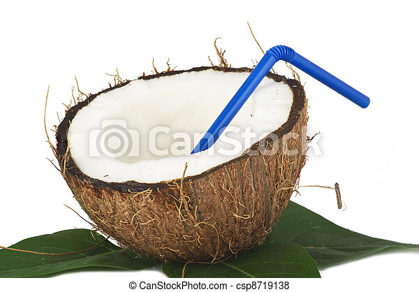 Coconut with leaves on a white background - csp8719138