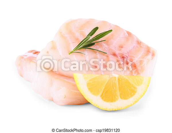 Cod fish fillet with lemon, rosemary on white - csp19831120