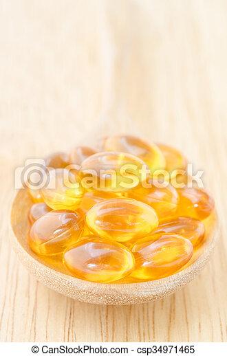 Cod liver oil omega 3 gel capsules. - csp34971465