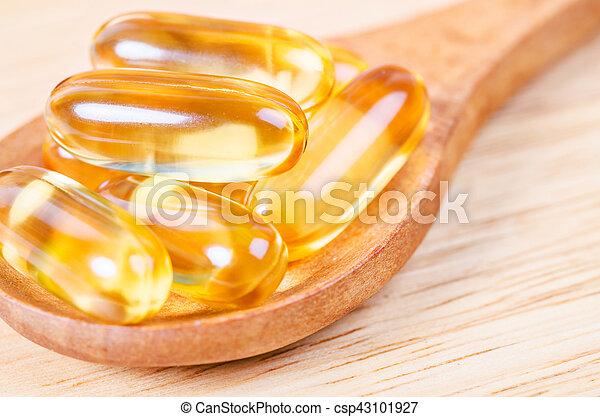 Cod liver oil omega 3 gel capsules. - csp43101927
