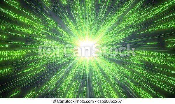 code binaire, illustration, cpu., informatique, en mouvement, conceptuel, chaînes, 3d - csp60852257