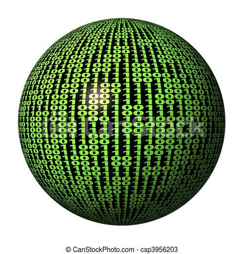 code binaire, sphère - csp3956203