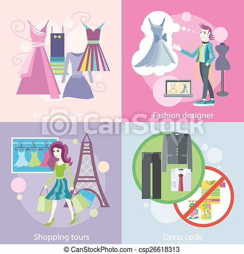 codice, shopping, giro, progettista, moda, vestire, disegno - csp26618313
