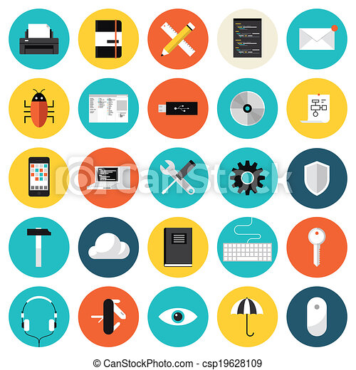 Coding and programming flat icons set - csp19628109