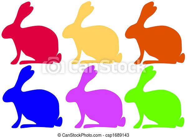 Coelhos Colorido Colorido Seis Scalable Rabbits Eps File