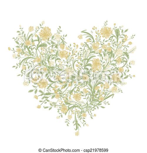 coeur, amour, bouquet, ton, forme, stylique floral - csp21978599