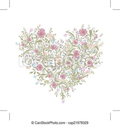 coeur, amour, bouquet, ton, forme, stylique floral - csp21978329