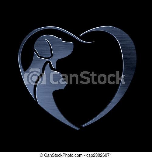 coeur, amour, chien, chat, logo, argent - csp23026071