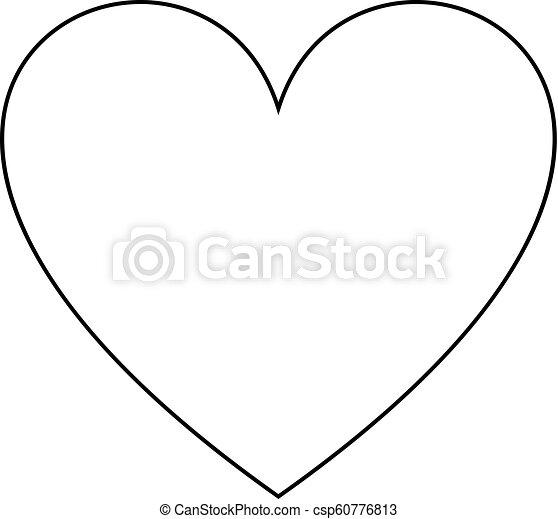 Coeur Amour Contour Simple Symbole Isolated Vecteur Noir Icône Ligne