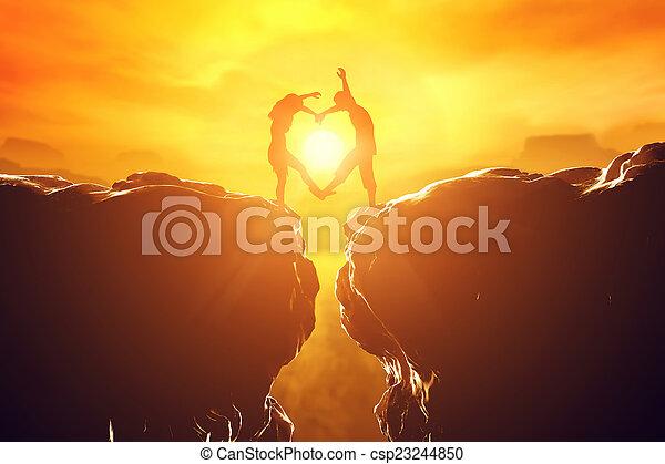 coeur, amour, couple, précipice, forme, confection, heureux, sur, sunset. - csp23244850