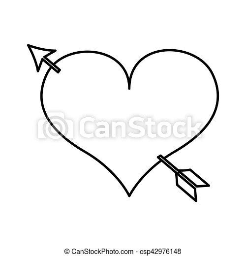 Coeur Amour Dessin Icône Flèche Coeur Amour Illustration