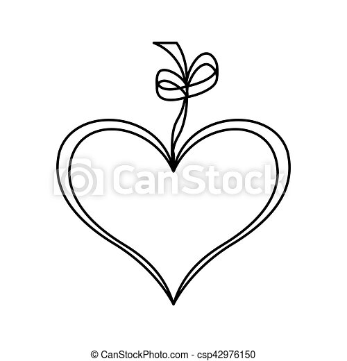 Dessin Ruban coeur, amour, dessin, ruban, icône. coeur, amour, illustration