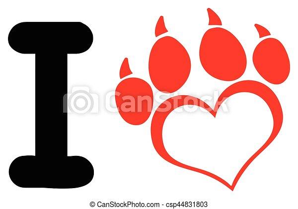 Coeur amour griffes patte chien conception - Clipart amour ...
