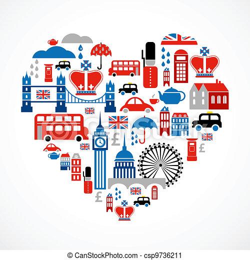 coeur, amour, icônes, beaucoup, -, vecteur, londres - csp9736211