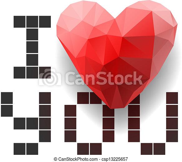 Coeur Amour Polygonal Vous Pixel Carte