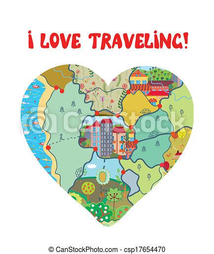 coeur, amour, rigolote, voyage, carte, carte - csp17654470