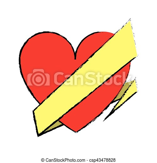 Coeur Amour Romantique Emballer Dessin Ruban Célébration