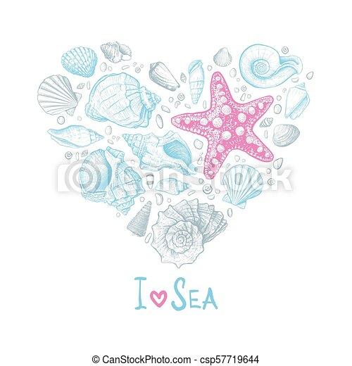 coeur, amour, seashells - csp57719644