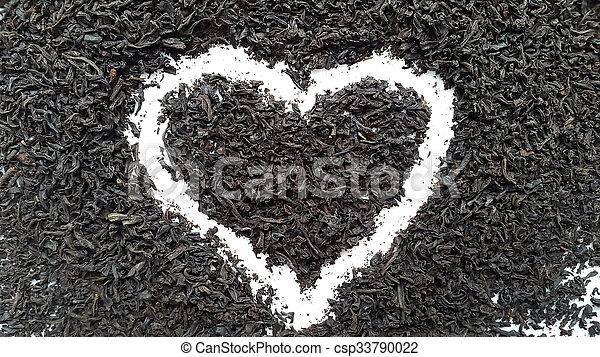 Coeur Amour Thé Tea Fond Brasser Noir Blanc