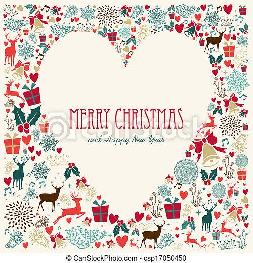 Coeur Amour Vendange Joyeux Noël Carte