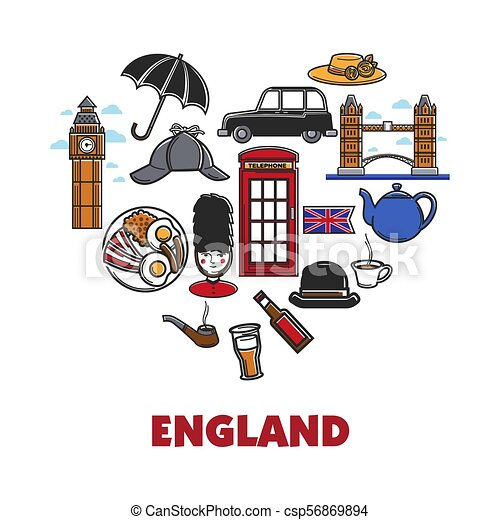 Coeur Angleterre Promo Affiche Symboles Nationaux Forme