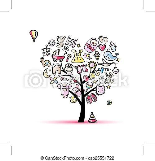coeur arbre forme jouets dorlotez fille coeur arbre illustration vectorielle. Black Bedroom Furniture Sets. Home Design Ideas
