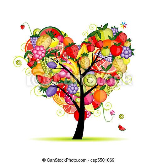 coeur, arbre, ton, fruit, conception, énergie, forme - csp5501069