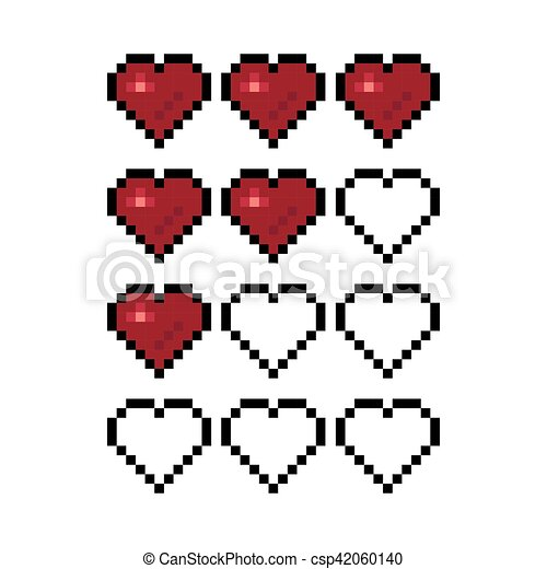 Coeur Art Illustration Jeu Vecteur Pixel