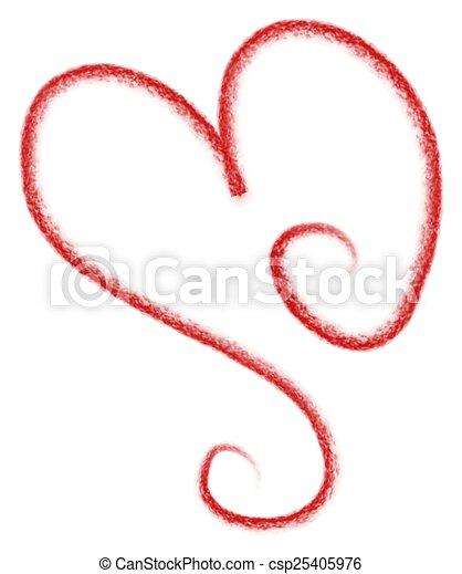 coeur, art, rouges, agrafe, griffonnage - csp25405976