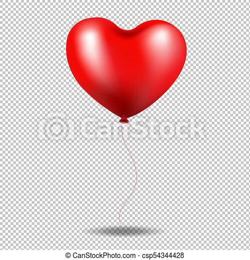 coeur, balloon, transparent, fond, rouges - csp54344428