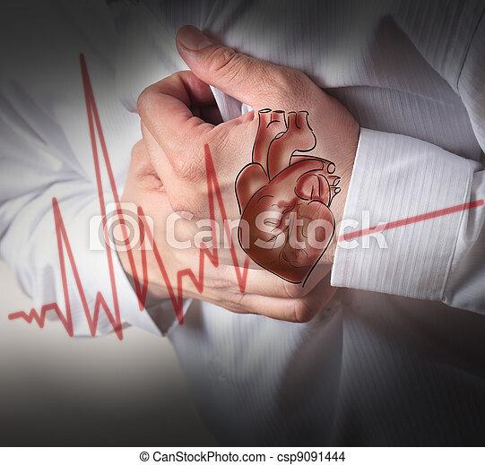 coeur, battements, attaque, fond, cardiogramme - csp9091444